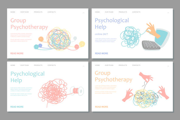 Psychotherapy landing page template. Vector psychological help web banners design vector art illustration