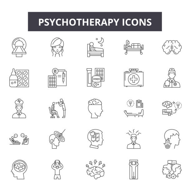 psychotherapy line icons, signs set, vector. psychotherapy outline concept, illustration: psychotherapy,psychology,health,brain,therapy,psychologist,concept - therapist stock illustrations