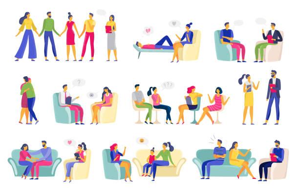 psychotherapy session. psychologic therapy, family psychologist and psychotherapist sessions vector illustration set - therapist stock illustrations