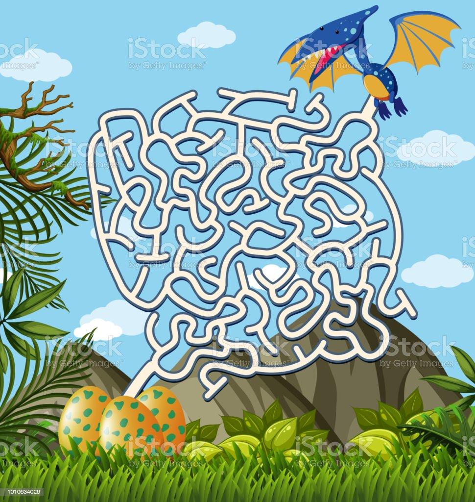 Pterosaurier finden Eier-Labyrinth-Puzzle-Spiel – Vektorgrafik