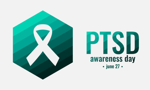 Ptsd awareness PTSD awareness day card or background. vector illustration. post traumatic stress disorder stock illustrations