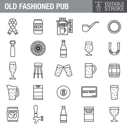 Pub Editable Stroke Icon Set