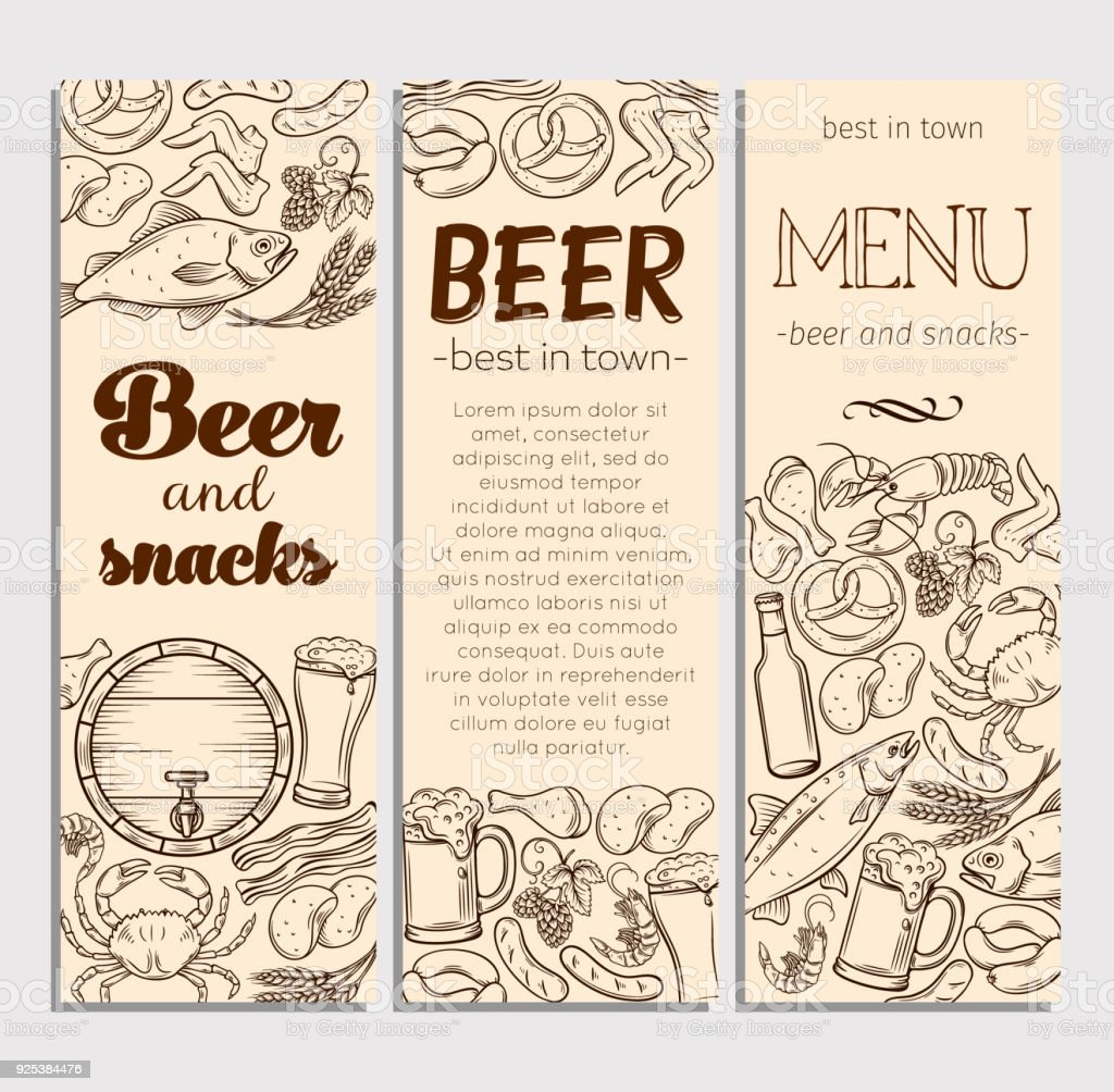 Pub Food And Beer Hand Drawn Template Stock Vector Art & More Images ...