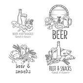 Pub Food and Beer Hand Drawn Template Banner . Vector Alcohol and Snacks Poster with Crab, Lobster, Shrimp, Fish, Chicken Wings and Legs, Pretzel and Nachos for Craft Beer Club Menu