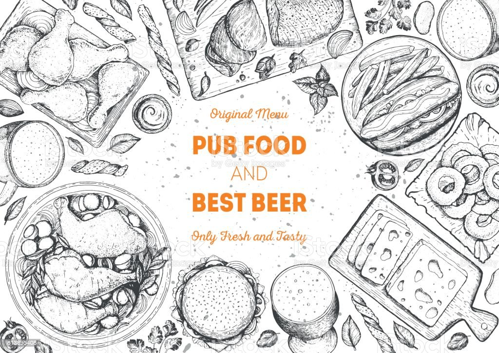Pub food frame vector illustration. Beer, meat, fast food and snacks hand drawn. Food set for pub design top view. Vintage engraved illustration for beer restaurant for beer restaurant. vector art illustration