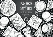 Pub food frame vector illustration. Beer, meat, pizza, fast food and snacks hand drawn. Food set for pub design top view. Vintage engraved illustration for beer restaurant for beer restaurant
