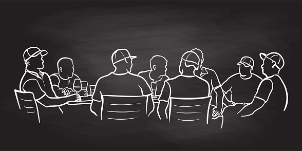 Pub Friends Drinking Chalkboard