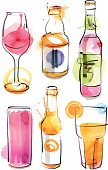 Image shows a lot of bottles and glasses with watercolor style; vectorimage with only one layer, without opening shapes and gradients; big jpeg (350DPI); digital drawing with free wild style; fantasy drawing; skinny lines; better for white backgrounds