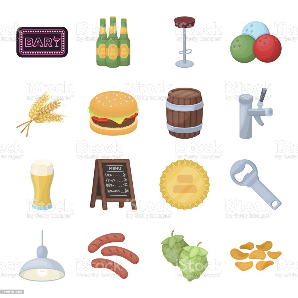 Pub, interior and equipment cartoon icons in set collection for design. Alcohol and food vector symbol stock web illustration. - Royalty-free Alcohol stock vector