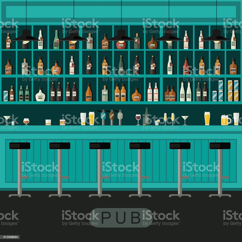 Pub interior with bar counter vector art illustration