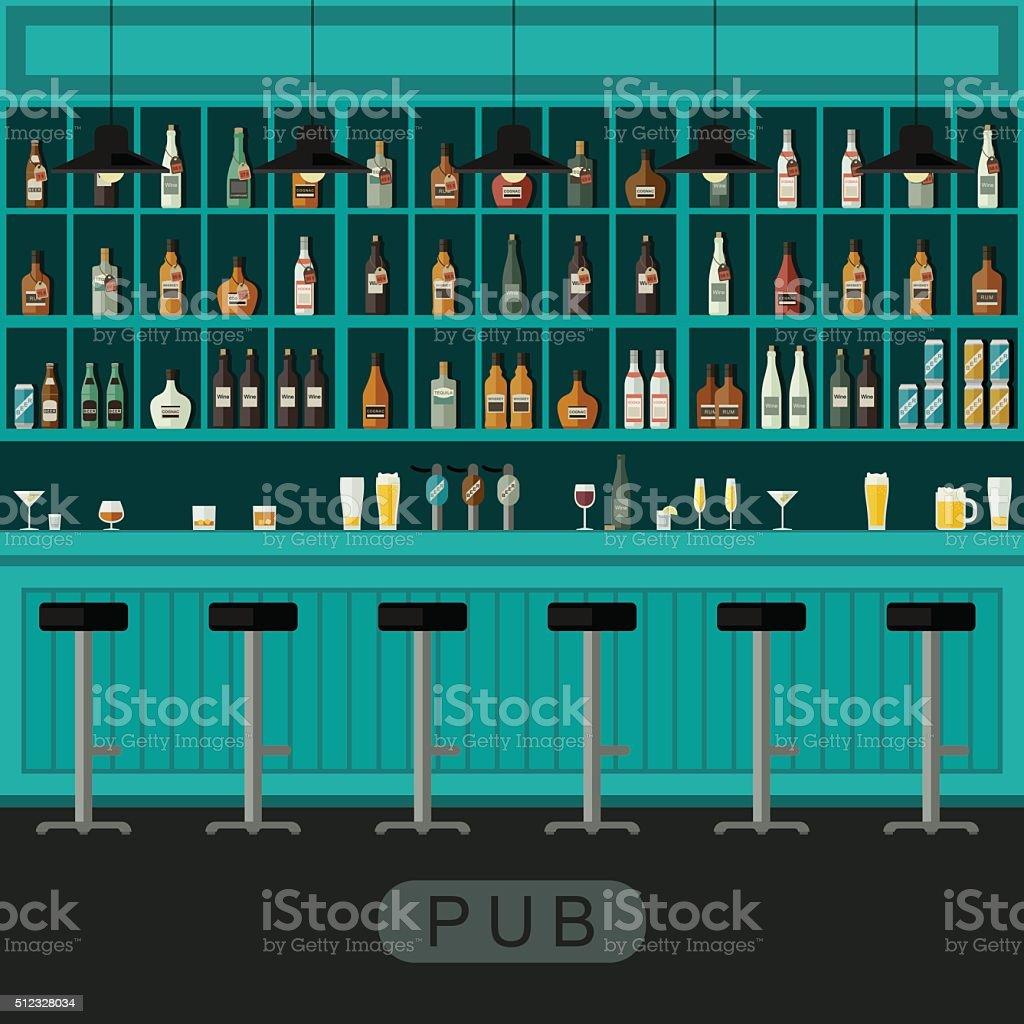 bar interior com balcão de bar - ilustração de arte em vetor