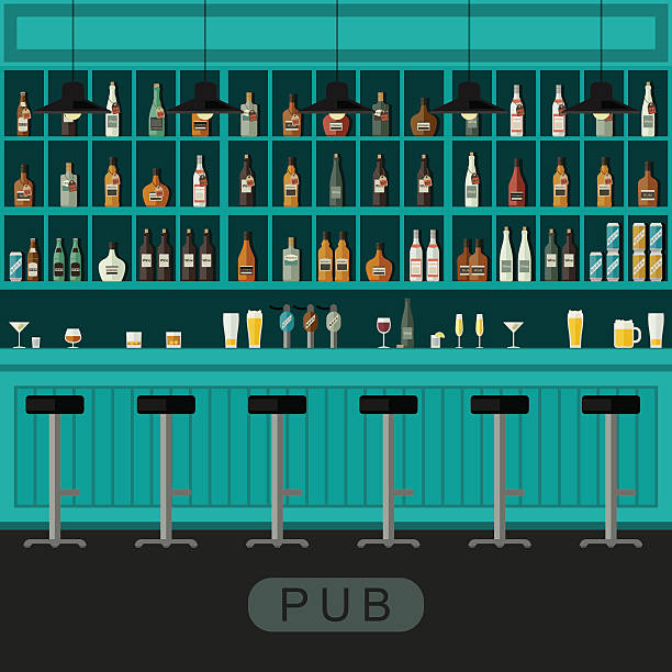 Pub interior with bar counter vector art illustration