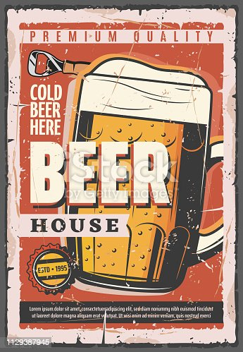 Beer house retro vector poster, full glass tankard of Oktoberfest brewery. Beer with foam in cup, vintage design for pub or bar. Cap from bottle and opener on shabby leaflet