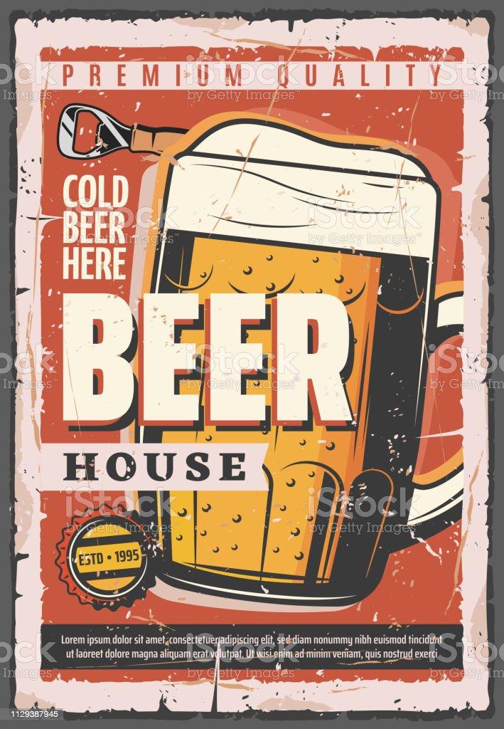 Pub or bar poster, beer tankard vector art illustration