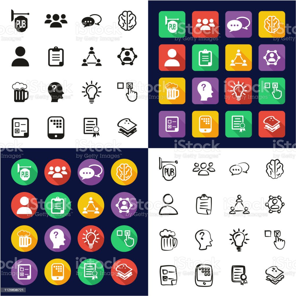 Pub Quiz Or Bar Quiz Icons All In One Icons Black White Color Flat