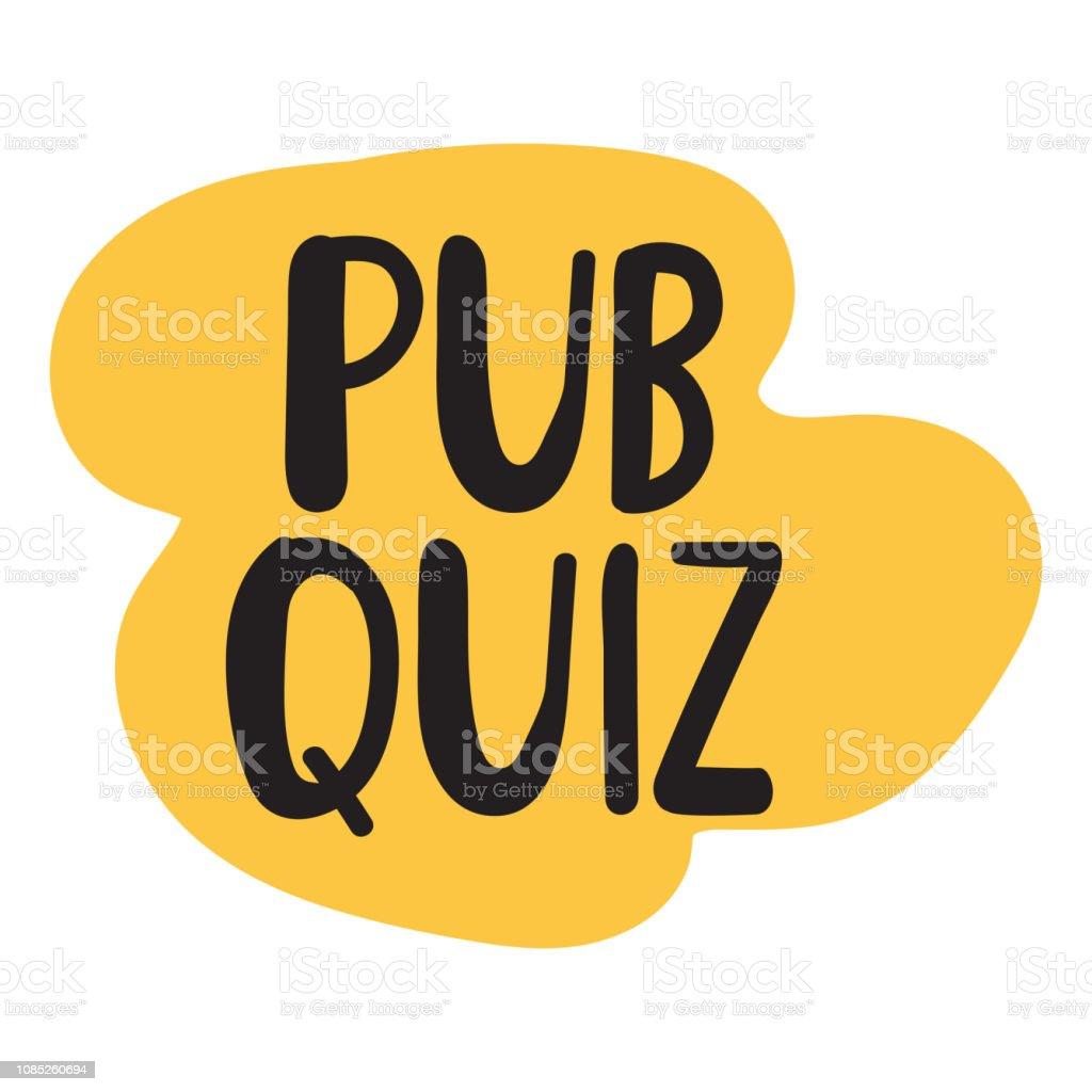 Pub Quiz Vector Lettering Illustration Stock Illustration
