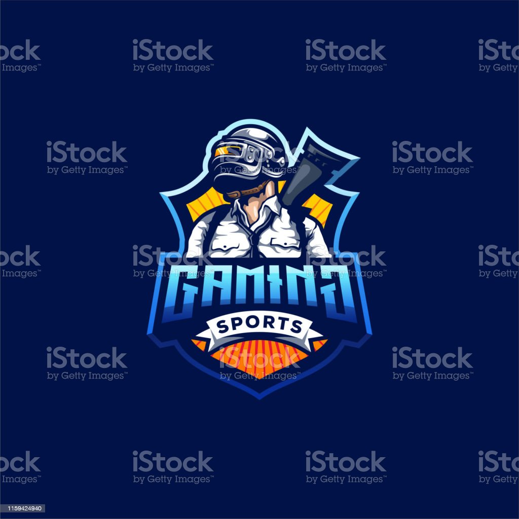 Pubg Gaming Logo Design Vector Illustration Stock