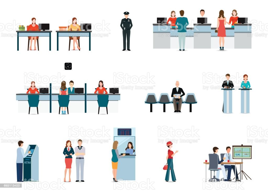 Public access to financial services to banks isolated on white. vector art illustration