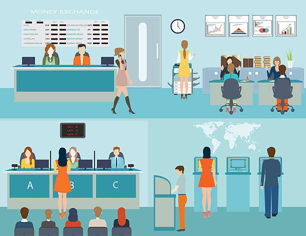 Public access to financial services to banks. vector art illustration