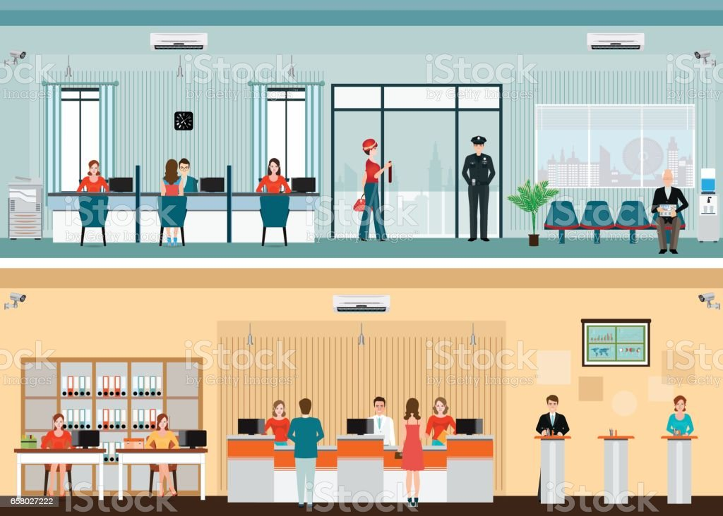 Public access to financial services to banks vector art illustration