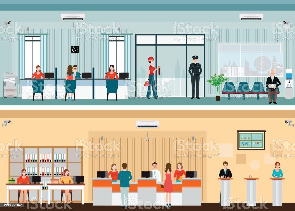 Kamu Bankaları için finansal hizmetlere erişim vektör sanat illüstrasyonu