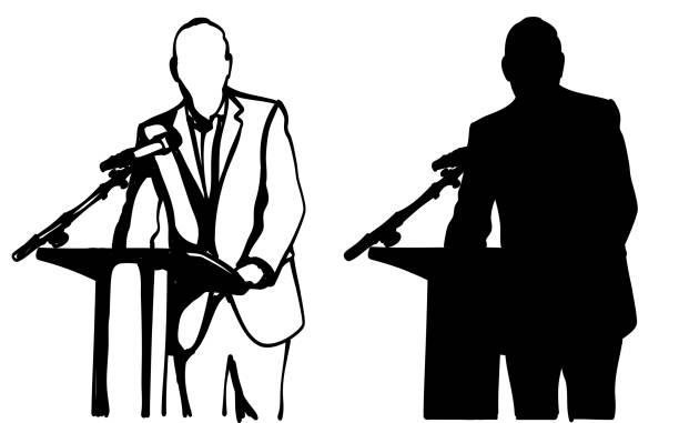 Public Address Politician Silhouette vector art illustration