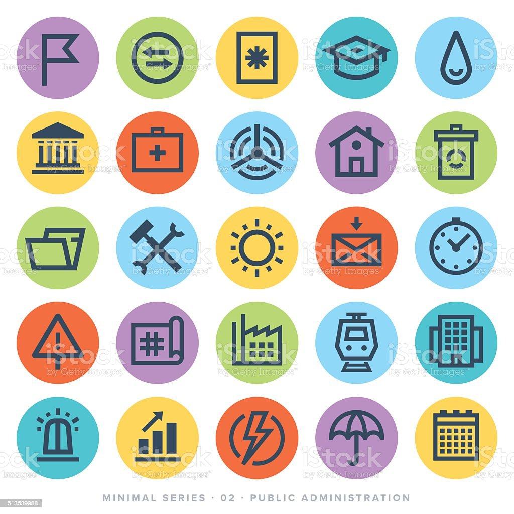Public Administration Icon Set vector art illustration