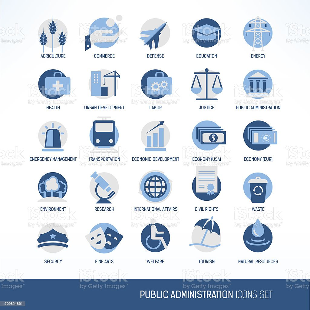 Public administration icons set vector art illustration