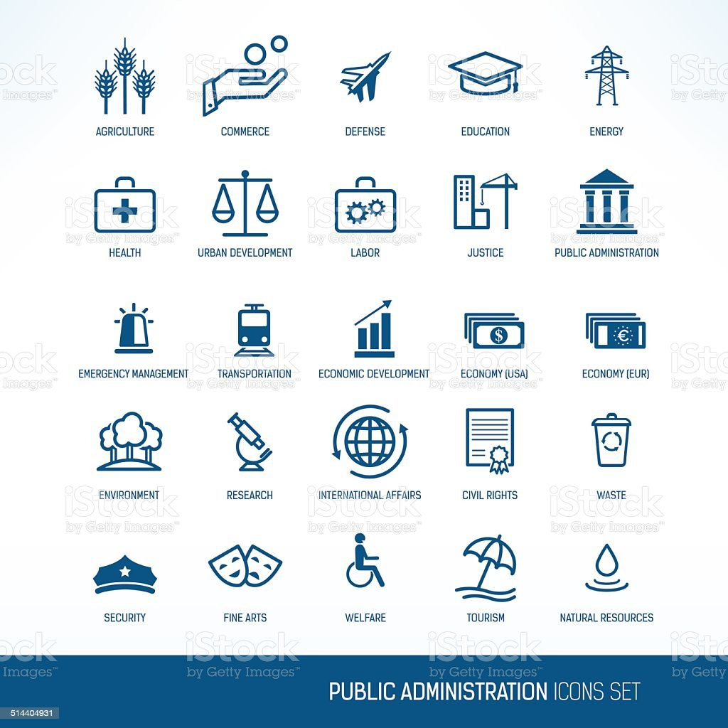 Public administration icons vector art illustration