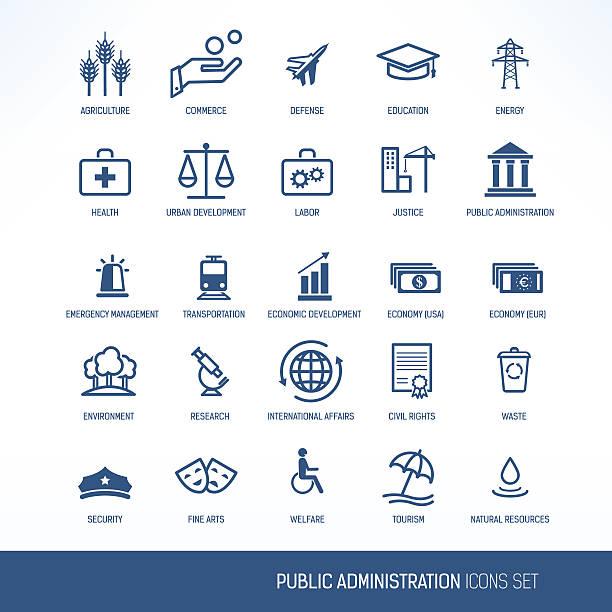 Public administration icons vector art illustration