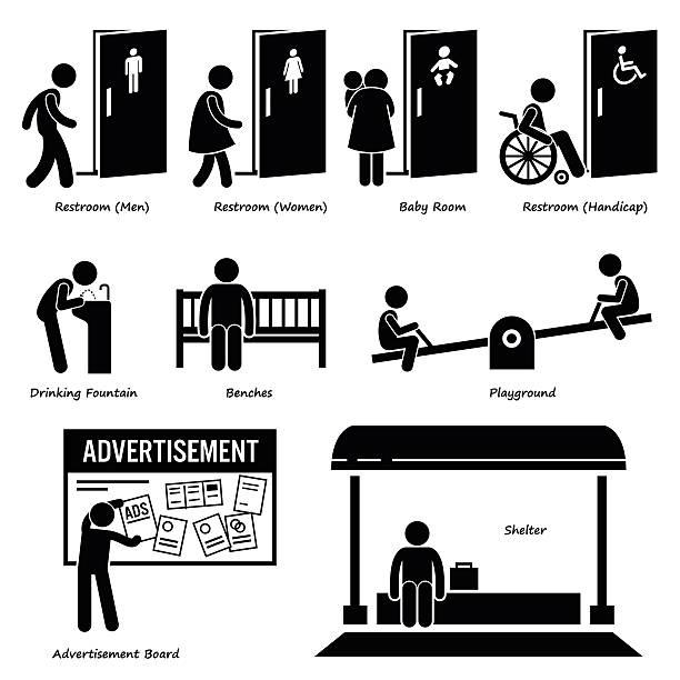 udogodnienia i obiekty publiczne - fontanna stock illustrations