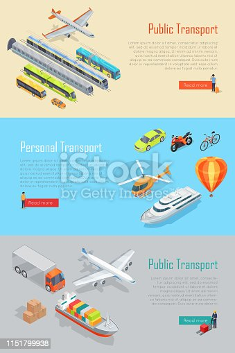 Public and personal transport isometric projection vector banners  set. Concepts with different kinds of air, land, water transportation machines. For municipal, delivery, rental company landing page