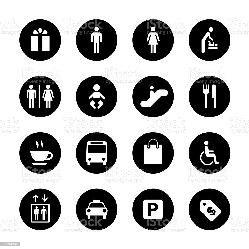 Öffentlichkeit und Shopping Mall Circle Icons Set – Vektorgrafik