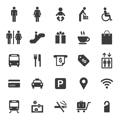 Public and Shopping Mall Icons Set
