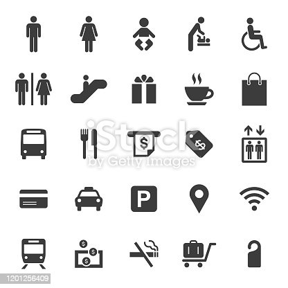 An illustration of public and shopping mall icons set for your web page, presentation, apps and design products. Vector format can be fully scalable & editable.