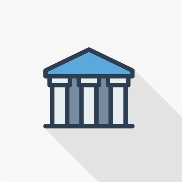 illustrations, cliparts, dessins animés et icônes de édifice de la banque publique, universitaire ou musée, icône de plat mince ligne architecture grecque classique. conception de grandissime coloré symbole vecteur linéaire. - museum