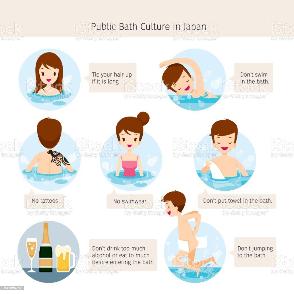 Cultura de banheiro público no Japão - ilustração de arte em vetor