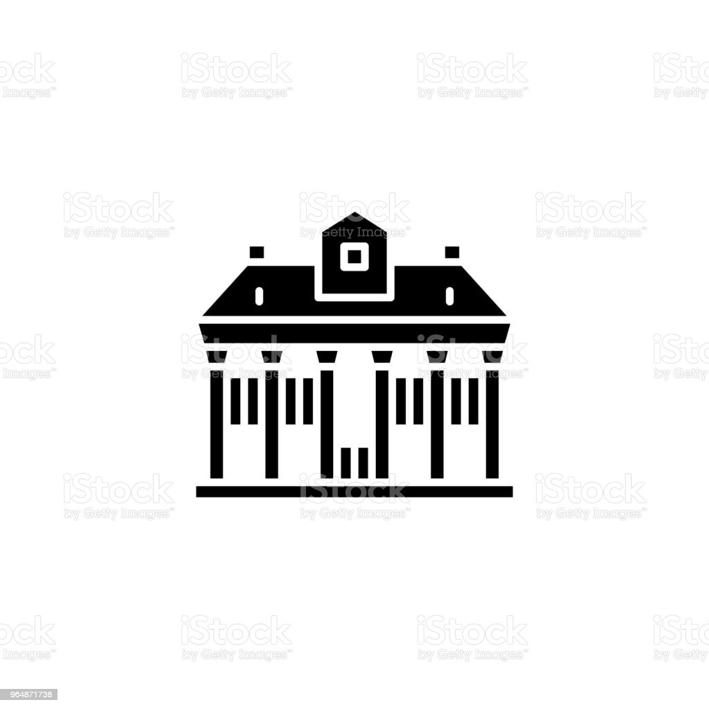 Public building black icon concept. Public building flat  vector symbol, sign, illustration. royalty-free public building black icon concept public building flat vector symbol sign illustration stock vector art & more images of airport