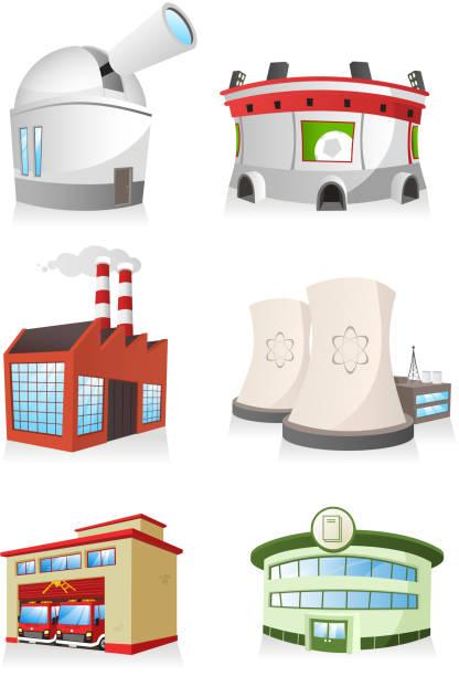 öffentliches gebäude fabrik feuerwehrhaus stadium kraftwerk buchhandlung-observatorium - sternwarte stock-grafiken, -clipart, -cartoons und -symbole