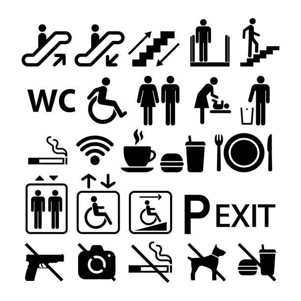 illustrazioni stock, clip art, cartoni animati e icone di tendenza di public building universal icon signs. shopping center information signs set of symbols. - ascensore