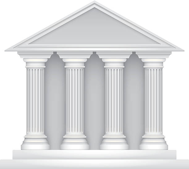 Public building Public building icon with four columns. Illustration contain transparencies and is saved as Illustrator 10 format. courthouse stock illustrations