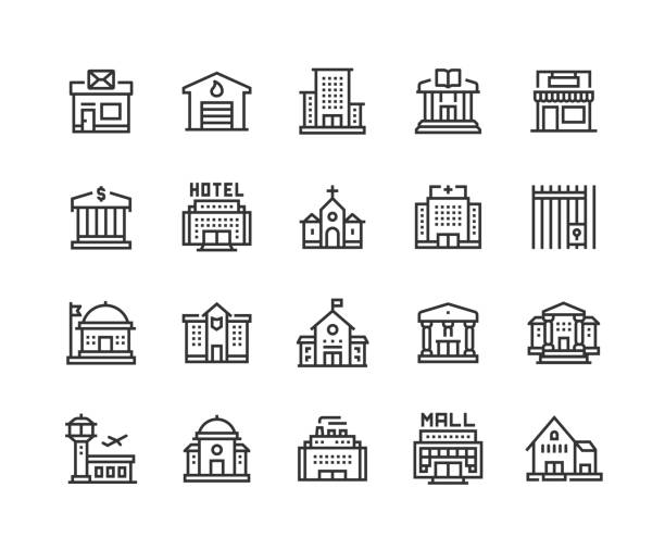 Public Buildings, Post Office, Fire Station, Office Center, Library, Store Icons Public Buildings, Post Office, Fire Station, Office Center, Library, Store, Airport, Bank, Hotel, Church, Hospital, Prison, Factory, Government, Police Station, School, Museum, Courthouse, Shopping Mall Icons airport drawings stock illustrations
