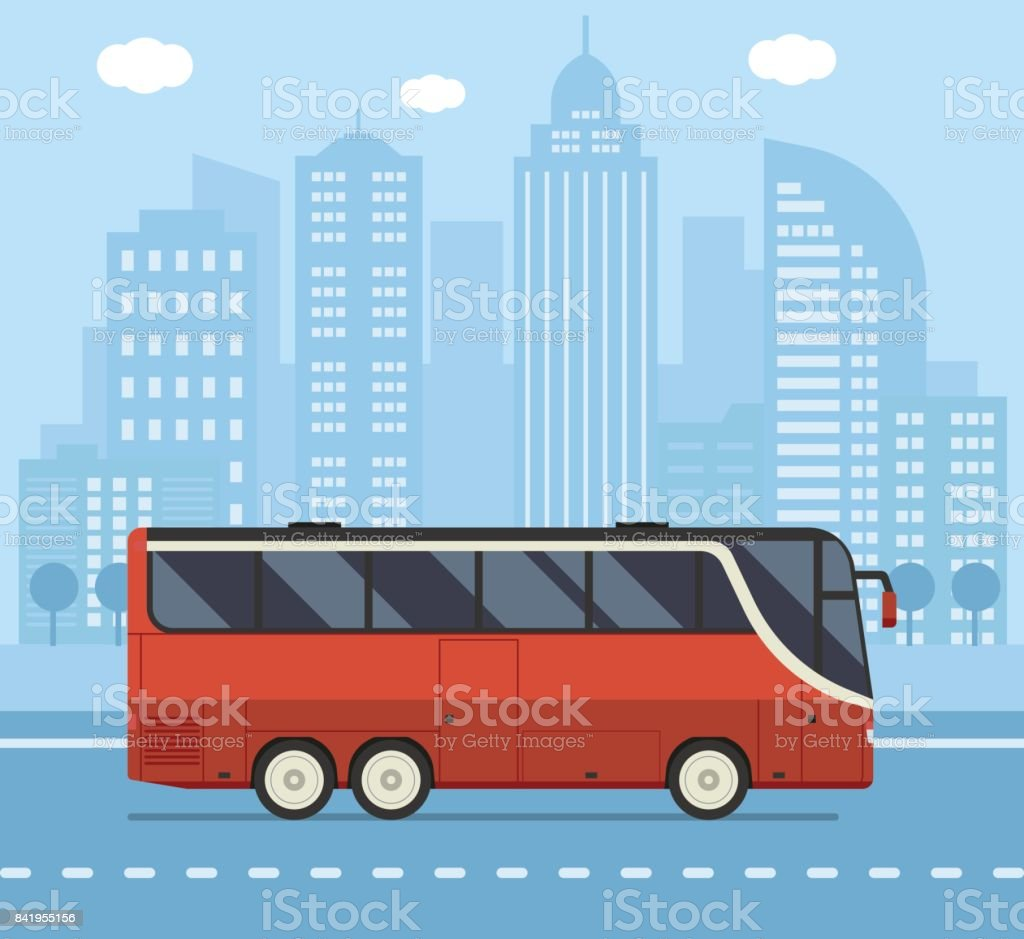 Public City Bus Concept Illustration - illustrazione arte vettoriale