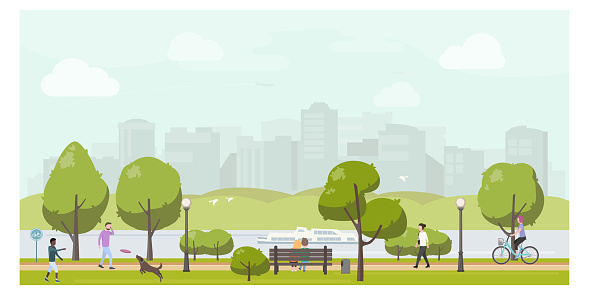 Public city park landscape flat illustration. People relaxing in city park, walking, playing with dog, riding bicycle.