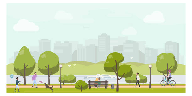 illustrazioni stock, clip art, cartoni animati e icone di tendenza di public city park landscape flat illustration. people relaxing in city park, walking, playing with dog, riding bicycle. - city walking background