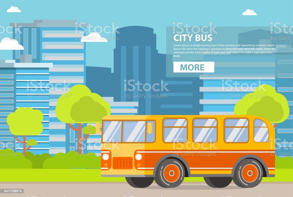 都市公共交通機関。旅客バス。高層ビル建物のタワーの都市。 ベクターアートイラスト