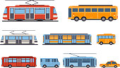 Public city transport set, taxi, bus, subway, tram vector Illustrations isolated on a white background.