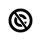 Public domain circular icon. Crossed out C letter trademark sign.