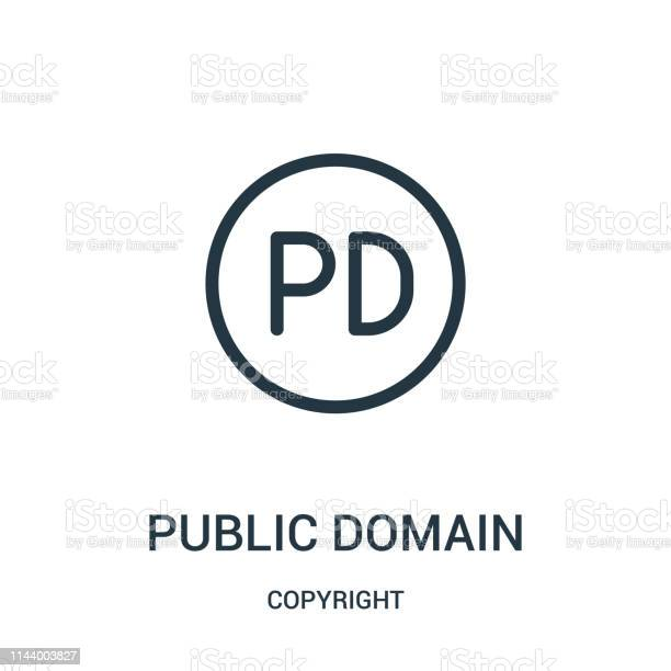 public domain icon vector from copyright collection. Thin line public domain outline icon vector illustration. Linear symbol for use on web and mobile apps, logo, print media.