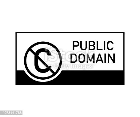 istock Public domain sign with crossed out C letter icon in a circle. Vector illustration. 1073141768